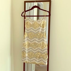Kate Spade Gold & Silver Chevron Sequin Mini Dress